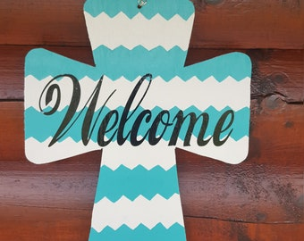 Wooden Cross, Large Door Hanger, Turquoise and White