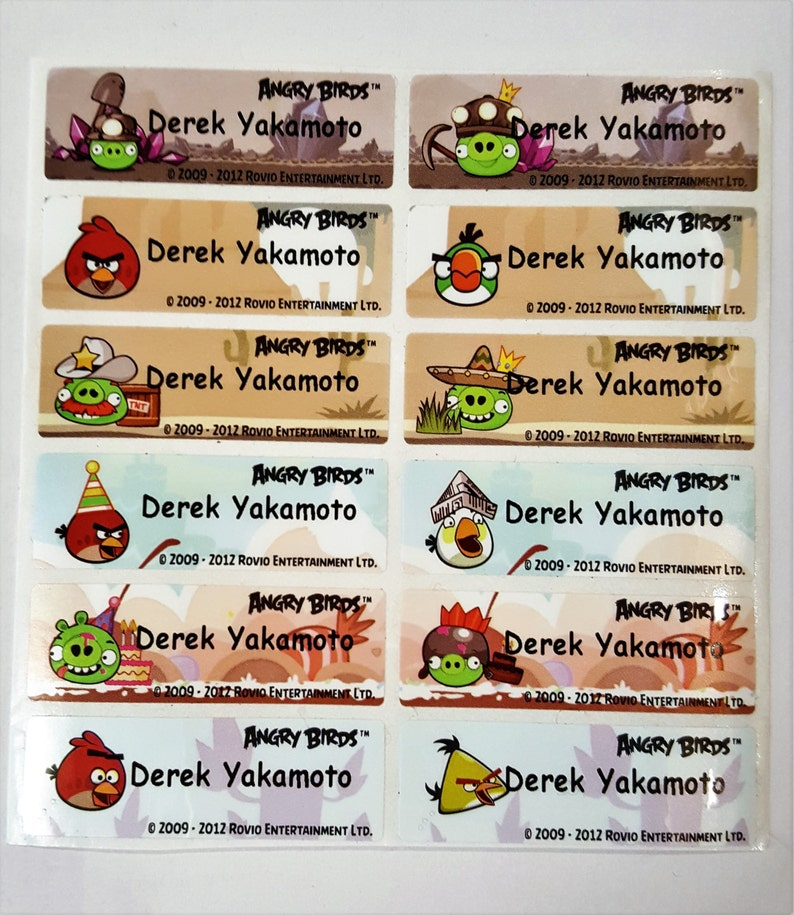 Angry Bird name sticker, Angry Bird, name tag, name label, , waterproof  name sticker, school supply, gift for kids, name sticker, stationary
