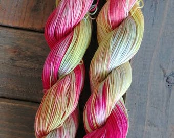 Yarn,Hand dyed yarn,Organic Cotton,Cotton Yarn, Rainbow Sorbet