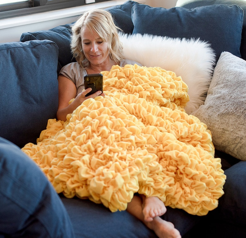 Calms Anxiety 3 Sizes Stress Albrea Yellow Handmade Luxury Throw House Warming Gift Soft Unique High End Home Decor Designer Blanket