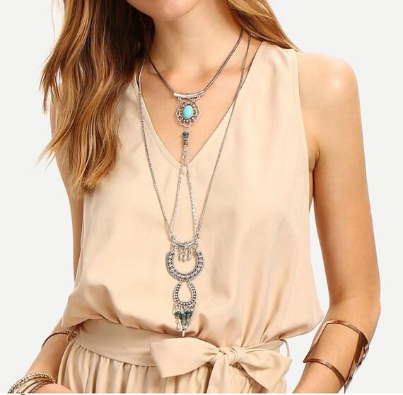 bcf16f7e23af Boho style layered necklace