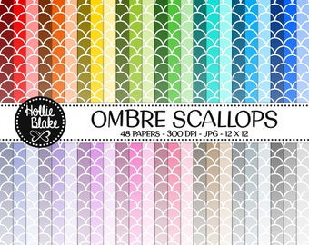 50% off SALE!! 48 Ombre Scallops Digital Paper • Rainbow Digital Paper • Commercial Use • Instant Download • #SCALLOPS-101-2-O