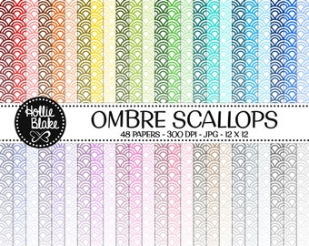 50% off SALE!! 48 Ombre Scallops Digital Paper • Rainbow Digital Paper • Commercial Use • Instant Download • #SCALLOPS-103-1-O