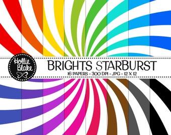 50% off SALE!! 16 Bright Starburst Digital Paper • Rainbow Digital Paper • Commercial Use • Instant Download • #STARBURST-102-B