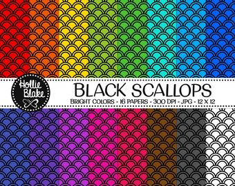 50% off SALE!! 16 Black Scallops Digital Paper • Rainbow Digital Paper • Commercial Use • Instant Download • #SCALLOPS-102-2-BB