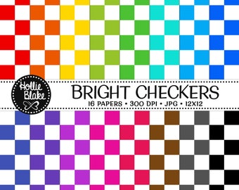 50% off SALE!! 16 Bright Checkers Digital Paper • Rainbow Digital Paper • Commercial Use • Instant Download • #CHECKERS-102-B
