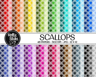 50% off SALE!! 48 Scallops Digital Paper • Rainbow Digital Paper • Commercial Use • Instant Download • #SCALLOPS-102-2
