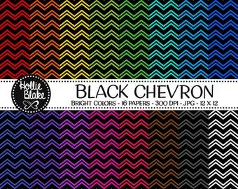 50% off SALE!! 16 Black Chevron Digital Paper • Rainbow Digital Paper • Commercial Use • Instant Download • #CHEVRON-108-1-BB