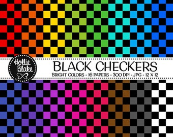 50% off SALE!! 16 Black Checkers Digital Paper • Rainbow Digital Paper • Commercial Use • Instant Download • #CHECKERS-101-BB