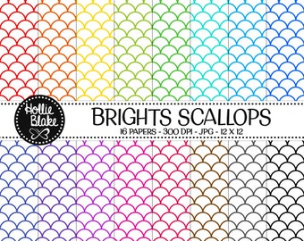 50% off SALE!! 16 Bright Scallops Digital Paper • Rainbow Digital Paper • Commercial Use • Instant Download • #SCALLOPS-101-1-B