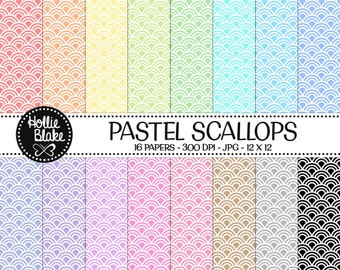 50% off SALE!! 16 Pastel Scallops Digital Paper • Rainbow Digital Paper • Commercial Use • Instant Download • #SCALLOPS-103-2-P