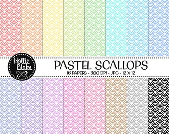 50% off SALE!! 16 Pastel Scallops Digital Paper • Rainbow Digital Paper • Commercial Use • Instant Download • #SCALLOPS-103-1-P