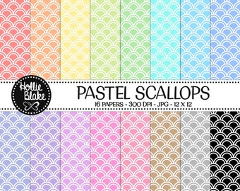 50% off SALE!! 16 Pastel Scallops Digital Paper • Rainbow Digital Paper • Commercial Use • Instant Download • #SCALLOPS-102-2-P
