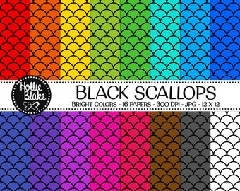 50% off SALE!! 16 Black Scallops Digital Paper • Rainbow Digital Paper • Commercial Use • Instant Download • #SCALLOPS-101-2-BB