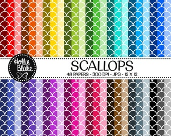 50% off SALE!! 48 Scallops Digital Paper • Rainbow Digital Paper • Commercial Use • Instant Download • #SCALLOPS-101-2