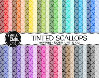 50% off SALE!! 48 Tinted Scallops Digital Paper • Rainbow Digital Paper • Commercial Use • Instant Download • #SCALLOPS-101-1-TINT