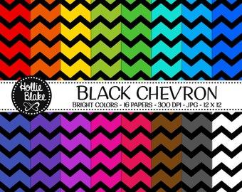 50% off SALE!! 16 Black Chevron Digital Paper • Rainbow Digital Paper • Commercial Use • Instant Download • #CHEVRON-122-2-BB