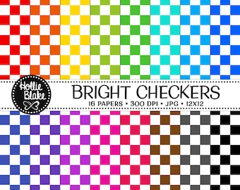 50% off SALE!! 16 Bright Checkers Digital Paper • Rainbow Digital Paper • Commercial Use • Instant Download • #CHECKERS-101-B