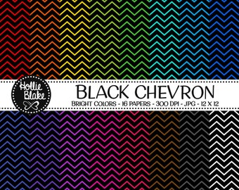 50% off SALE!! 16 Black Chevron Digital Paper • Rainbow Digital Paper • Commercial Use • Instant Download • #CHEVRON-112-1-BB