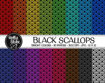 50% off SALE!! 16 Black Scallops Digital Paper • Rainbow Digital Paper • Commercial Use • Instant Download • #SCALLOPS-103-1-BB