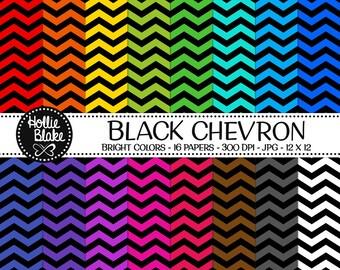 50% off SALE!! 16 Black Chevron Digital Paper • Rainbow Digital Paper • Commercial Use • Instant Download • #CHEVRON-103-BB