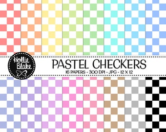 50% off SALE!! 16 Pastel Checkers Digital Paper • Rainbow Digital Paper • Commercial Use • Instant Download • #CHECKERS-101-P