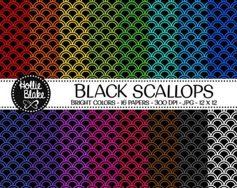 50% off SALE!! 16 Black Scallops Digital Paper • Rainbow Digital Paper • Commercial Use • Instant Download • #SCALLOPS-102-1-BB