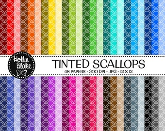 50% off SALE!! 48 Tinted Scallops Digital Paper • Rainbow Digital Paper • Commercial Use • Instant Download • #SCALLOPS-102-2-TINT