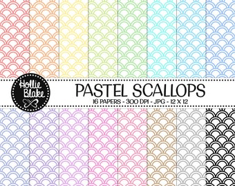 50% off SALE!! 16 Pastel Scallops Digital Paper • Rainbow Digital Paper • Commercial Use • Instant Download • #SCALLOPS-102-1-P