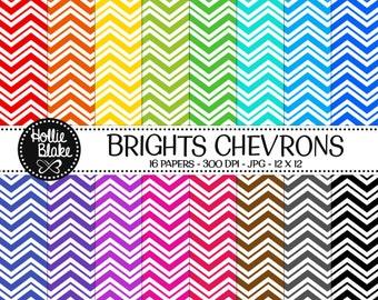 50% off SALE!! 16 Bright Chevron Digital Paper • Rainbow Digital Paper • Commercial Use • Instant Download • #CHEVRON-133-2-B