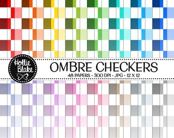 50% off SALE!! 48 Ombre Checkers Digital Paper • Rainbow Digital Paper • Commercial Use • Instant Download • #CHECKERS-102-O