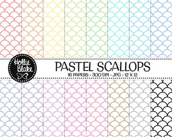 50% off SALE!! 16 Pastel Scallops Digital Paper • Rainbow Digital Paper • Commercial Use • Instant Download • #SCALLOPS-101-1-P