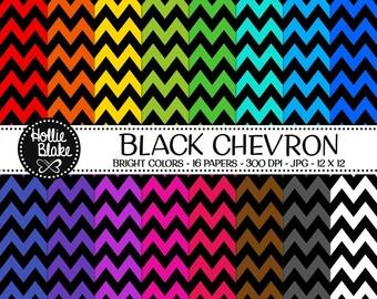 50% off SALE!! 16 Black Chevron Digital Paper • Rainbow Digital Paper • Commercial Use • Instant Download • #CHEVRON-107-BB