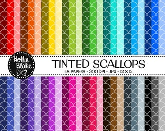 50% off SALE!! 48 Tinted Scallops Digital Paper • Rainbow Digital Paper • Commercial Use • Instant Download • #SCALLOPS-101-2-TINT