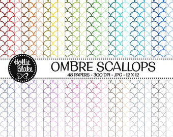 50% off SALE!! 48 Ombre Scallops Digital Paper • Rainbow Digital Paper • Commercial Use • Instant Download • #SCALLOPS-101-1-O