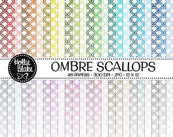 50% off SALE!! 48 Ombre Scallops Digital Paper • Rainbow Digital Paper • Commercial Use • Instant Download • #SCALLOPS-102-1-O