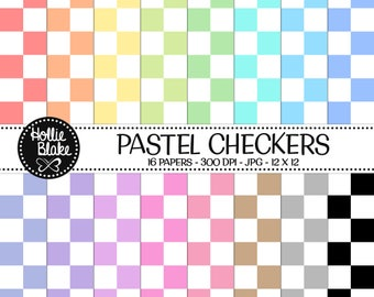 50% off SALE!! 16 Pastel Checkers Digital Paper • Rainbow Digital Paper • Commercial Use • Instant Download • #CHECKERS-102-P