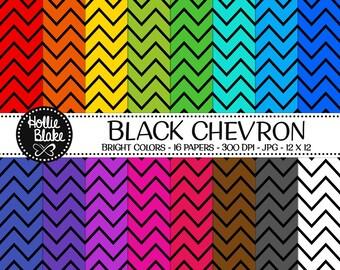 50% off SALE!! 16 Black Chevron Digital Paper • Rainbow Digital Paper • Commercial Use • Instant Download • #CHEVRON-101-2-BB