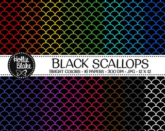 50% off SALE!! 16 Black Scallops Digital Paper • Rainbow Digital Paper • Commercial Use • Instant Download • #SCALLOPS-101-1-BB