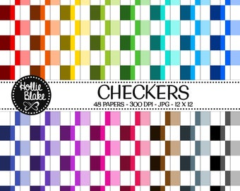 50% off SALE!! 48 Checkers Digital Paper • Rainbow Digital Paper • Commercial Use • Instant Download • #CHECKERS-102