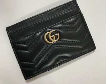 a5424e95eb8a Card Genuine leather card holder, Gucci card holder, Gucci Marmont card  holder, Gucci marmont, business card, mini wallet, GG wallet