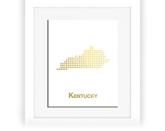 Gold Foil Kentucky Map, Kentucky Map, Kentucky poster, Gold Foil Map, Kentucky wall decor, Kentucky art, gold foil print, gold decor, gold