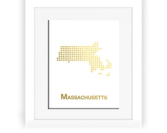 Gold Foil Massachusetts Map, Massachusetts Map, Massachusetts dot map, Gold Foil Map, Massachusetts wall decor, Massachusetts art