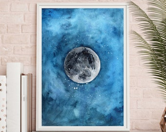 Watercolor Full Moon Painting, Abstract Dark Moon, Dark Moon, Blue Moon, Moon Painting, Full Moon, Night Sky, Stars and Moon Painting