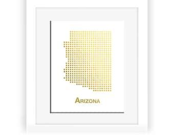 Gold Foil Arizona Map, Arizona Map, Arizona dot map, Gold Foil Map, Arizona wall decor, Arizona art, gold foil print, gold decor, gold art