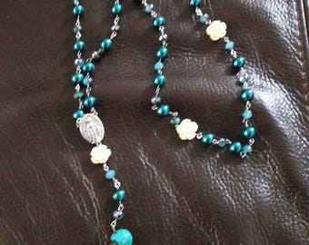 Teal and  Crystal Beaded Rosary