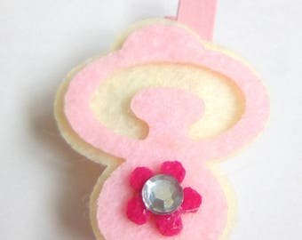Clothespin ornament felt pink and white baby