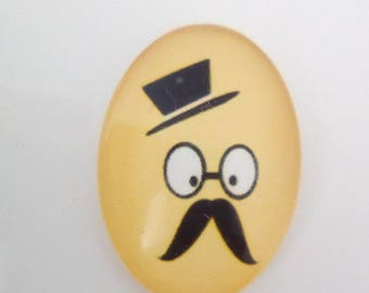 Glass cabochon Black Yellow mustache 25x18mm oval