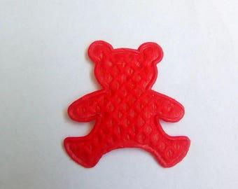 Applique fabric Teddy bear red 19x17mm