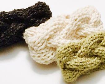 Chunky hand-knit Cable Headband